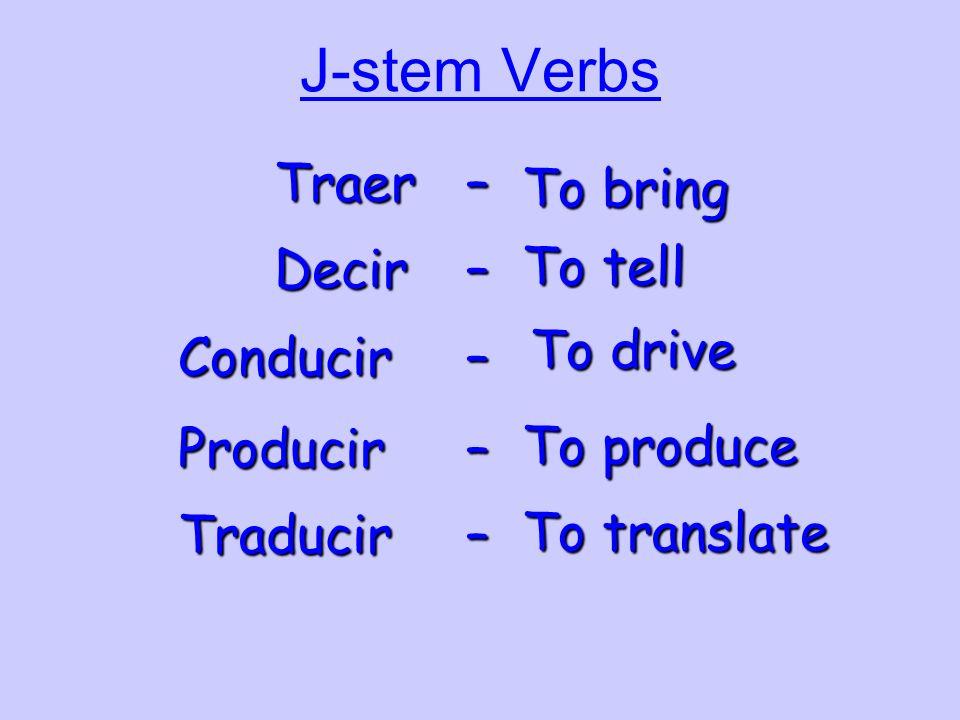 J-stem Verbs Traer – To bring To tell Decir – To drive Conducir –