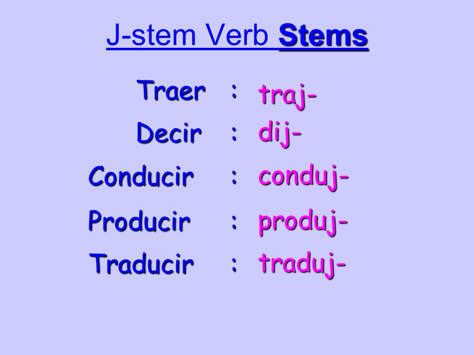 J-stem Verb Stems Traer : traj- dij- Decir : conduj- Conducir :