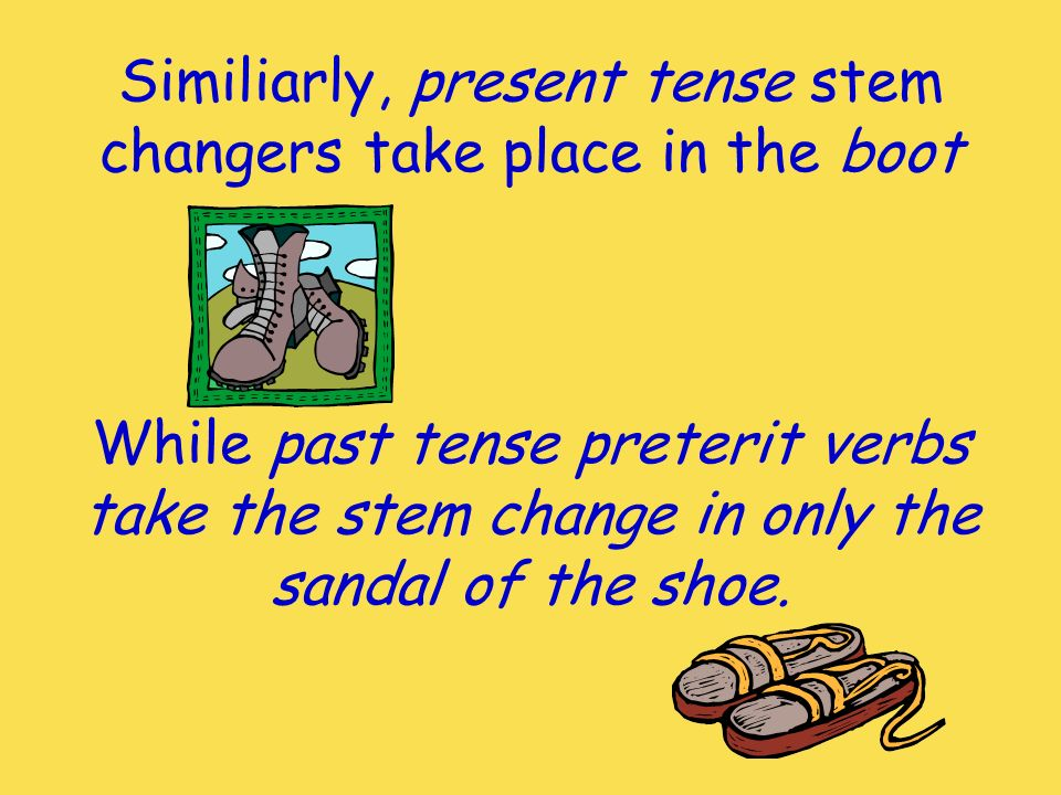 Similiarly, present tense stem changers take place in the boot
