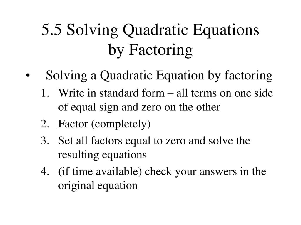 51 factoring the greatest common factor ppt download 55 solving quadratic equations by factoring falaconquin