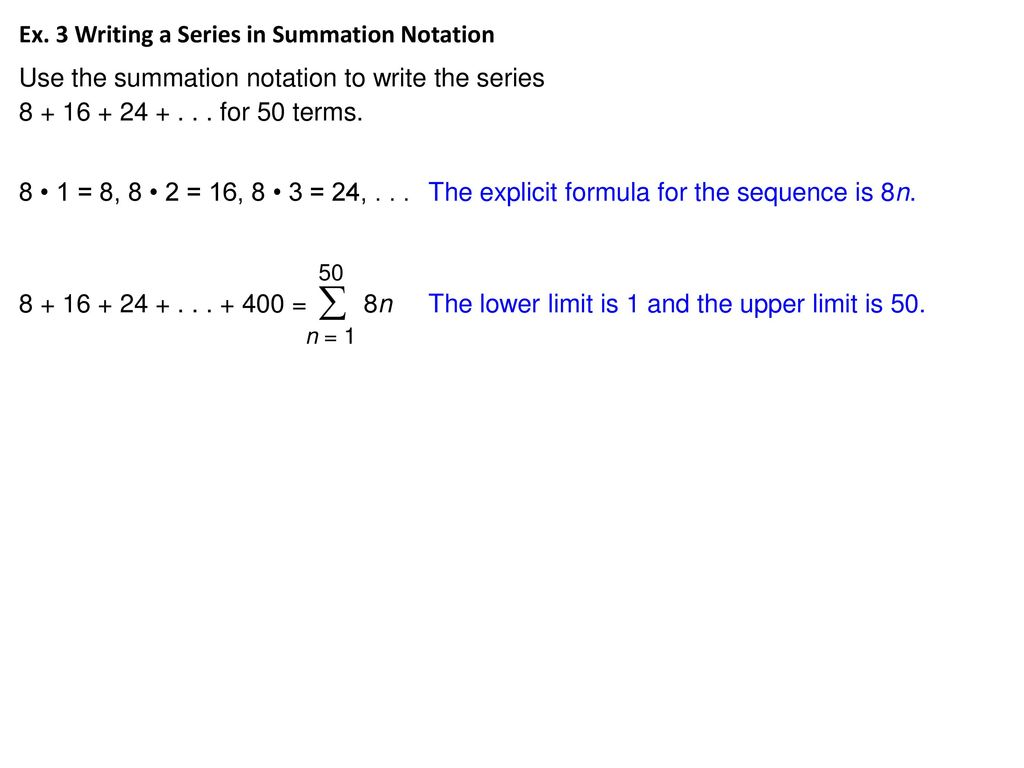 11 4 arithmetic series hubarth algebra ii ppt download ex 3 writing a series in summation notation biocorpaavc Gallery