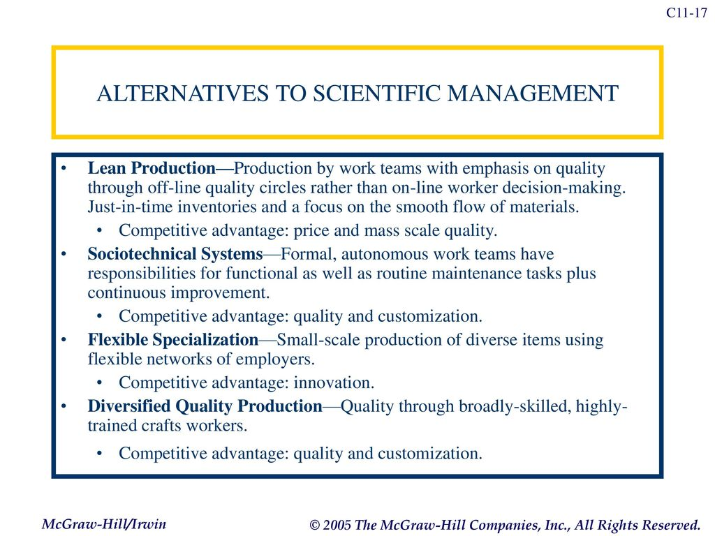 advantages of scientific management While frederick taylor's theory makes for more efficient workers, it is not without  flaws frederick taylor's scientific management theory, also.