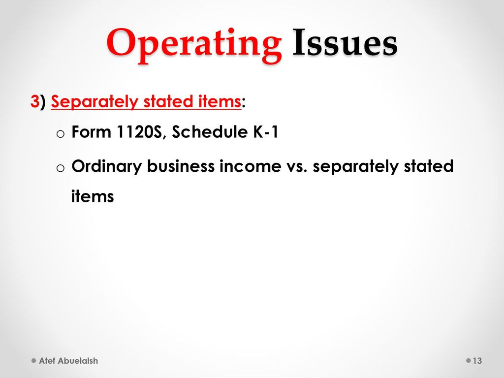Welcome back atef abuelaish ppt download operating issues 3 separately stated items form 1120s schedule k 1 falaconquin