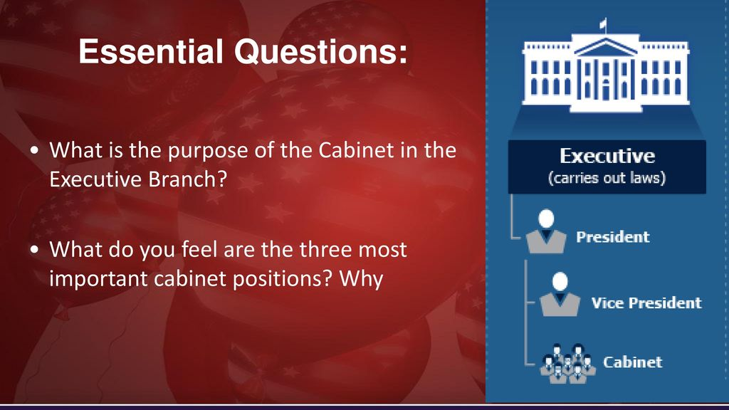 Essential Questions: What Is The Purpose Of The Cabinet In The Executive  Branch