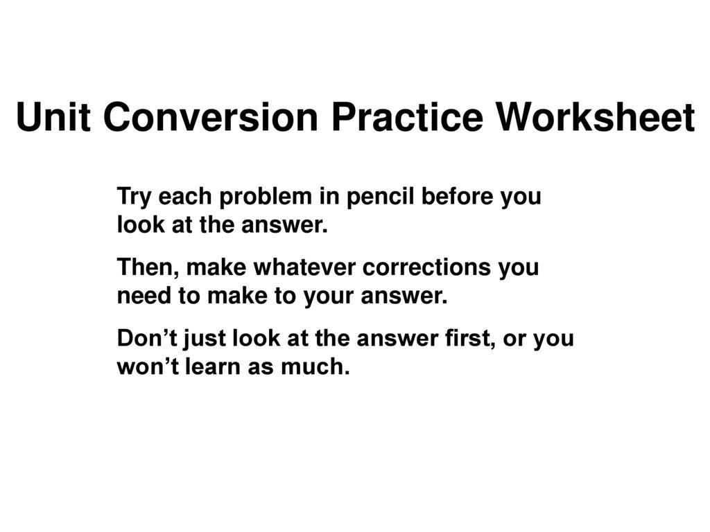 worksheet Unit Conversion Practice Worksheet unit conversion practice worksheet ppt download worksheet