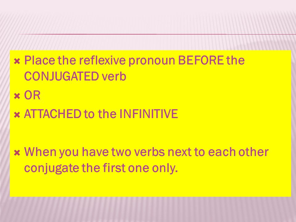 Place the reflexive pronoun BEFORE the CONJUGATED verb