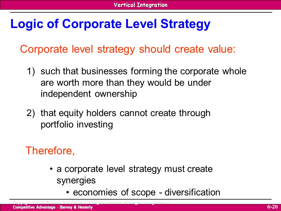 Logic of Corporate Level Strategy