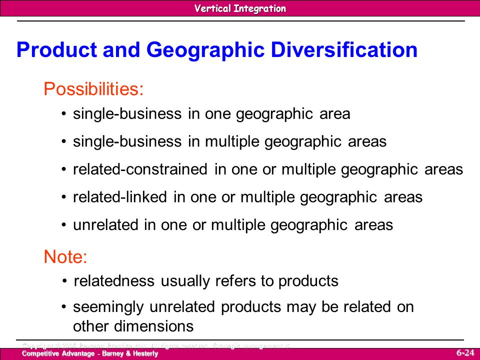 Product and Geographic Diversification
