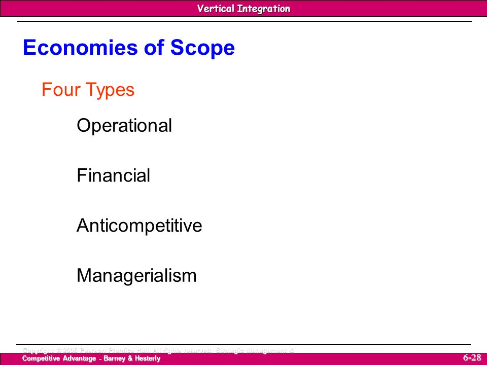 Economies of Scope Four Types Operational Financial Anticompetitive