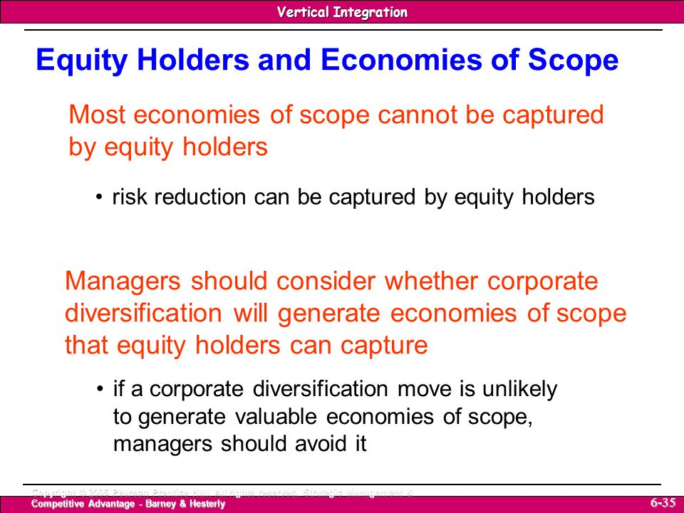 Equity Holders and Economies of Scope