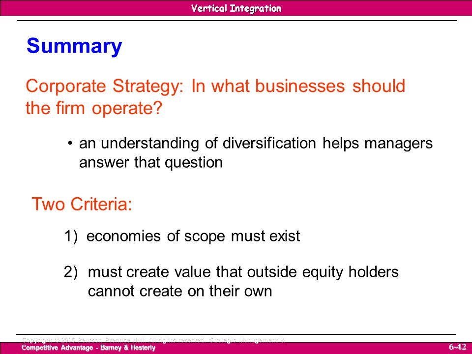 Summary Corporate Strategy: In what businesses should