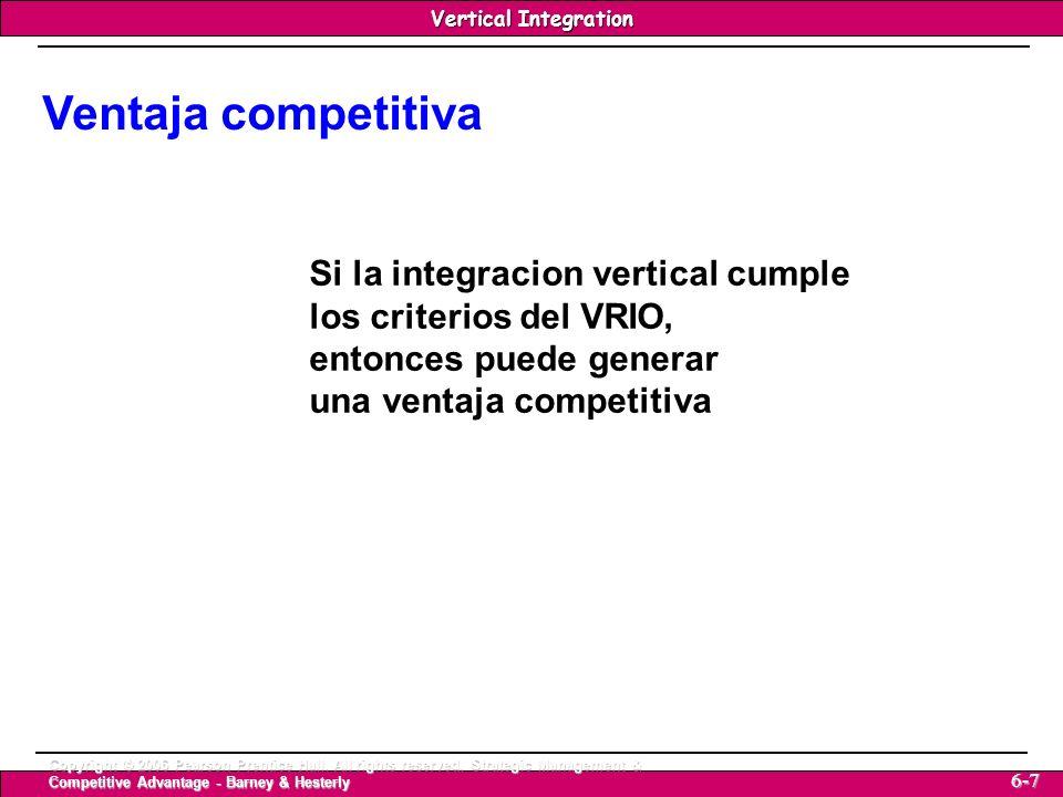 Ventaja competitiva Si la integracion vertical cumple