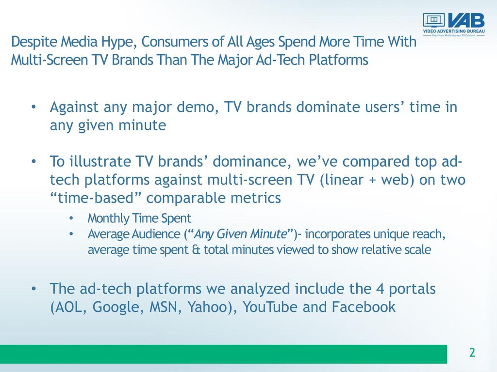 Despite Media Hype, Consumers of All Ages Spend More Time With Multi-Screen TV Brands Than The Major Ad-Tech Platforms