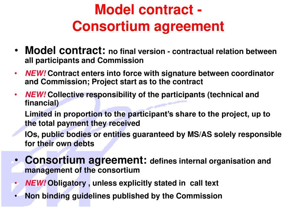 6th framework programme ppt download model contract consortium agreement platinumwayz