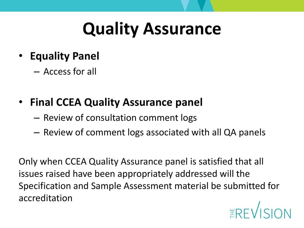 Gcse double award science march ppt download quality assurance equality panel final ccea quality assurance panel urtaz Image collections
