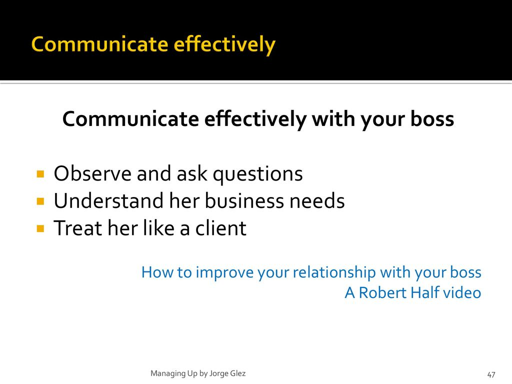 improve relationship with boss