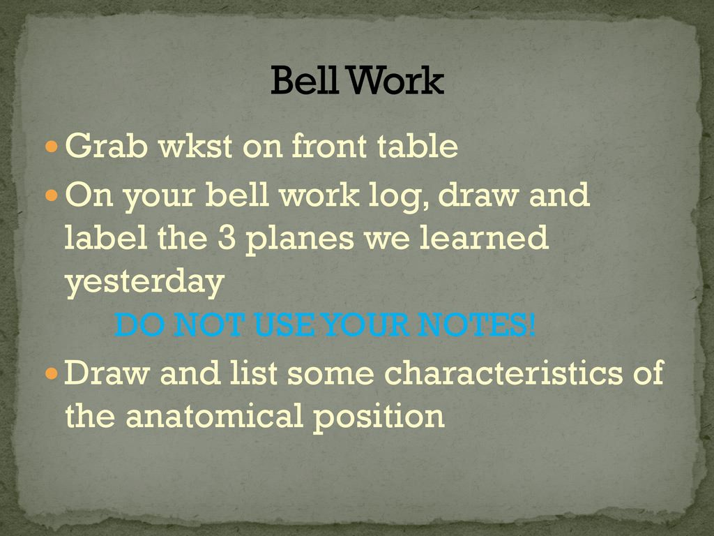 Bell Work Grab wkst on front table