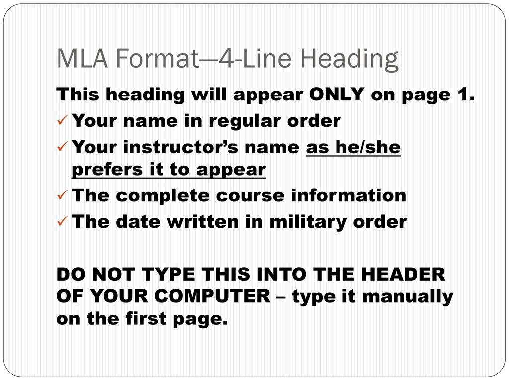 mla header order