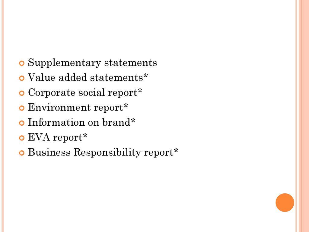 Supplementary statements