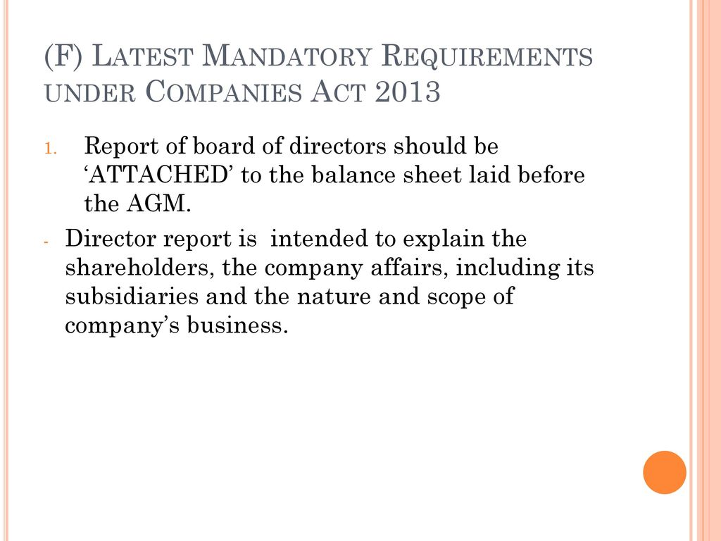 (F) Latest Mandatory Requirements under Companies Act 2013