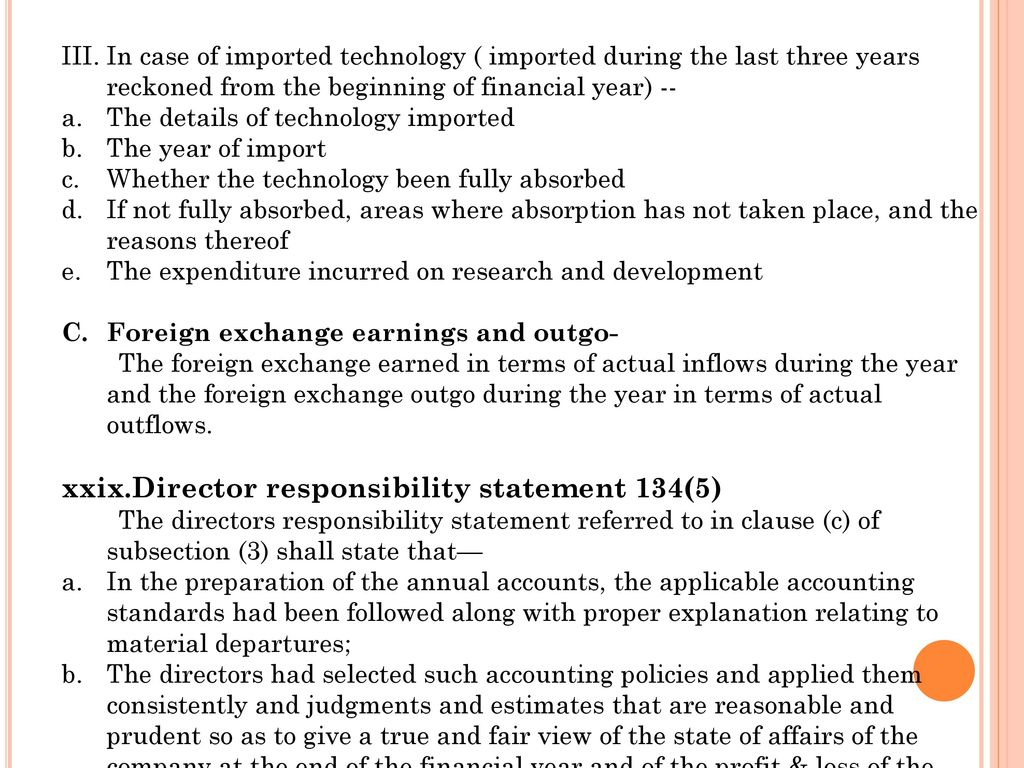 Director responsibility statement 134(5)