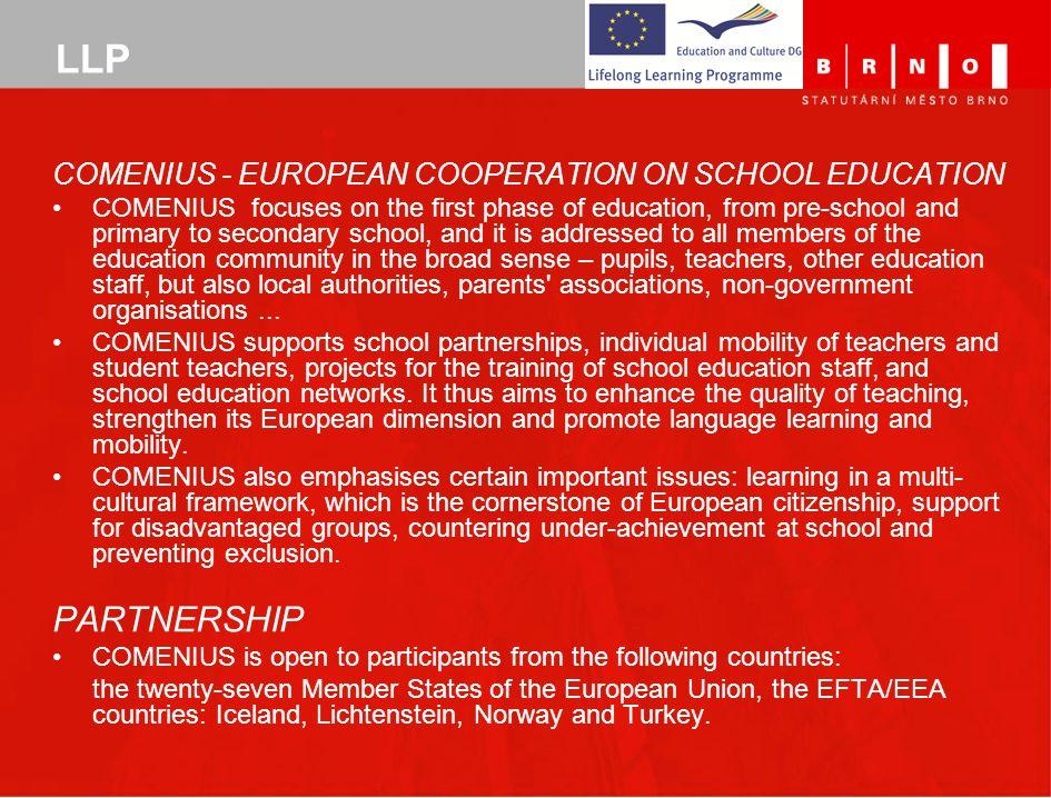 LLP PARTNERSHIP Comenius - European Cooperation on School Education