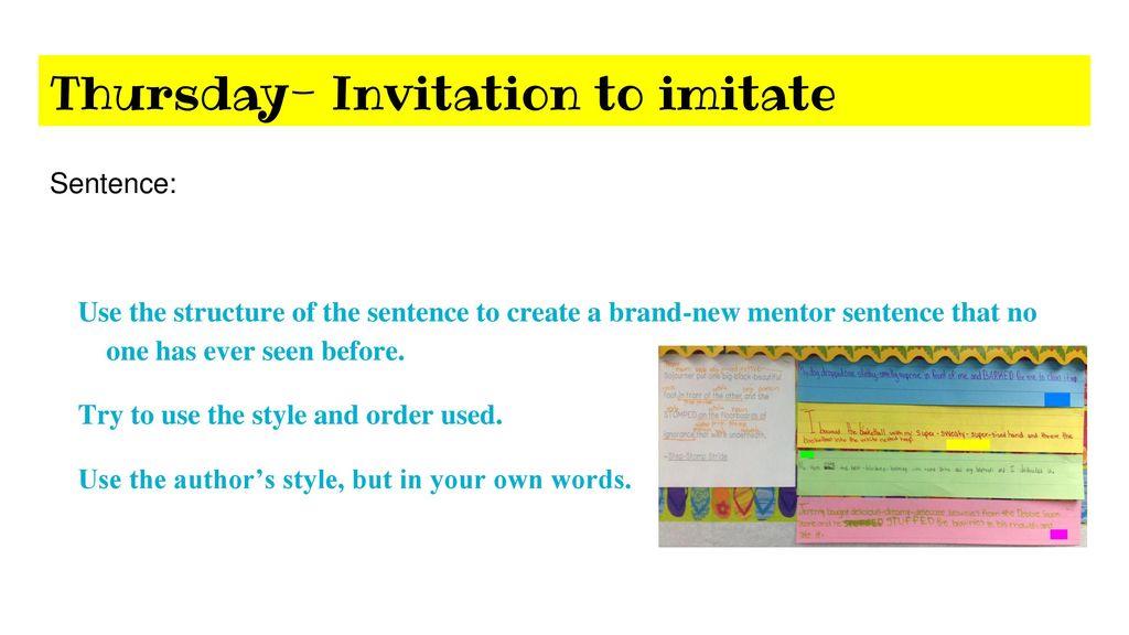 Mentor sentences quarter 1 4th grade ela ppt download thursday invitation to imitate stopboris Gallery