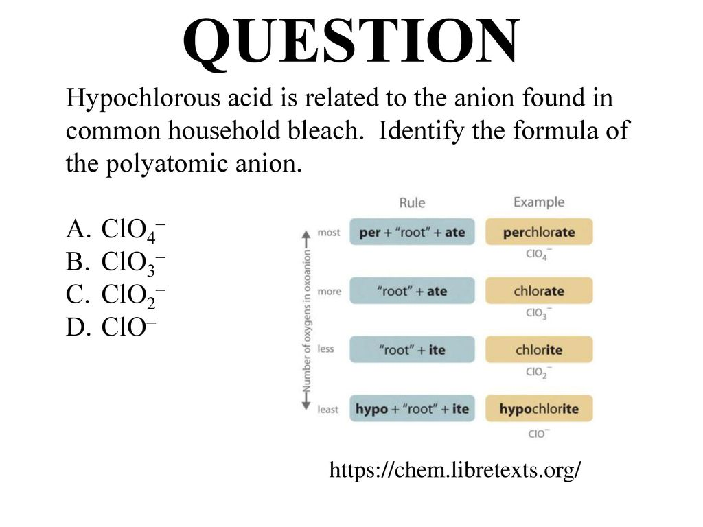 Nomenclature compounds formulas names ppt download question hypochlorous acid is related to the anion found in common household bleach identify the urtaz Gallery