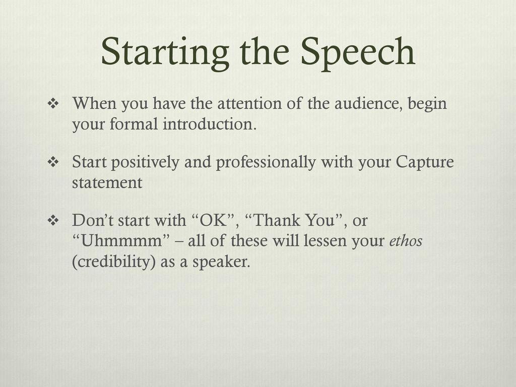 starting a speech