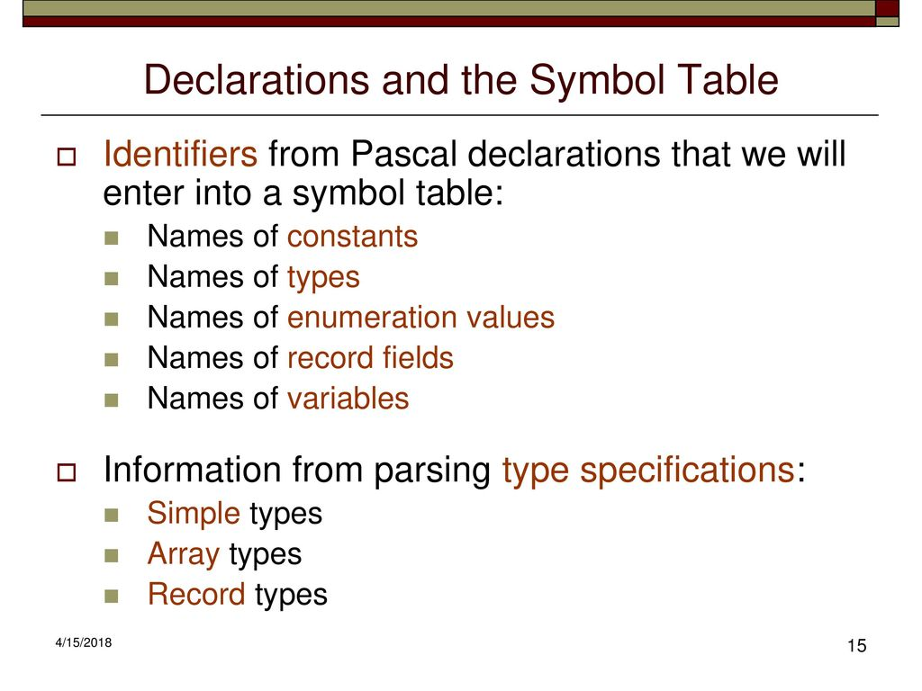 Cs 432 compiler construction lecture 9 ppt download declarations and the symbol table biocorpaavc Images