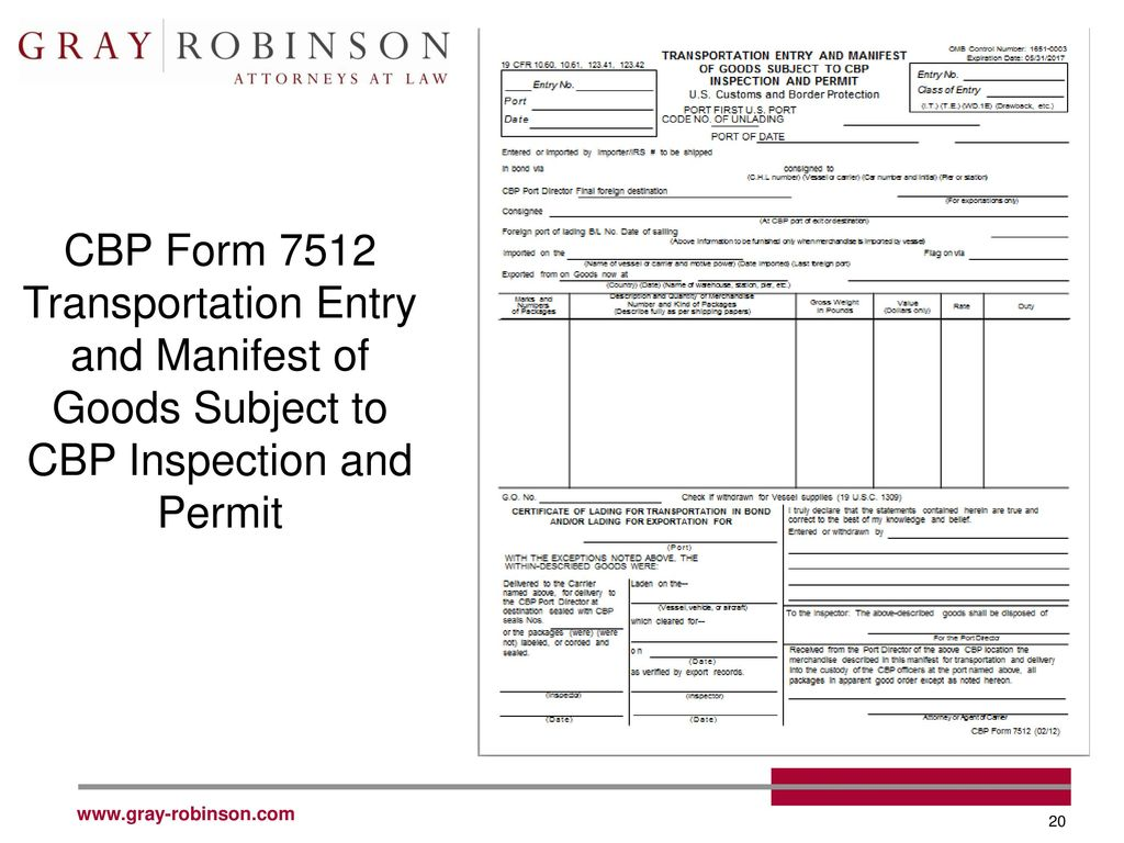 OMB Control Number: 1651-0003 TRANSPORTATION ENTRY AND ...