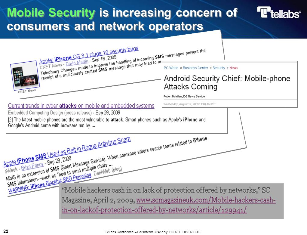 Mobile Security is increasing concern of consumers and network operators