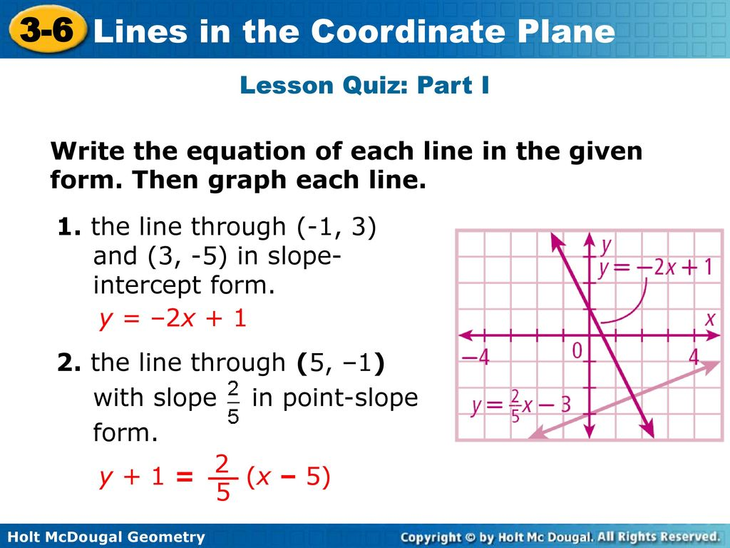 Can every line be written in slope intercept form image collections lines in the coordinate plane ppt download lesson quiz part i write the equation of each falaconquin