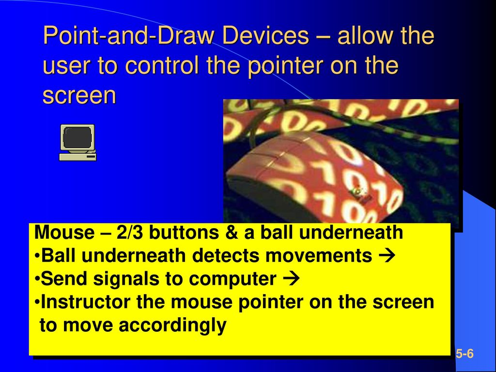 Point-and-Draw Devices – allow the user to control the pointer on the screen
