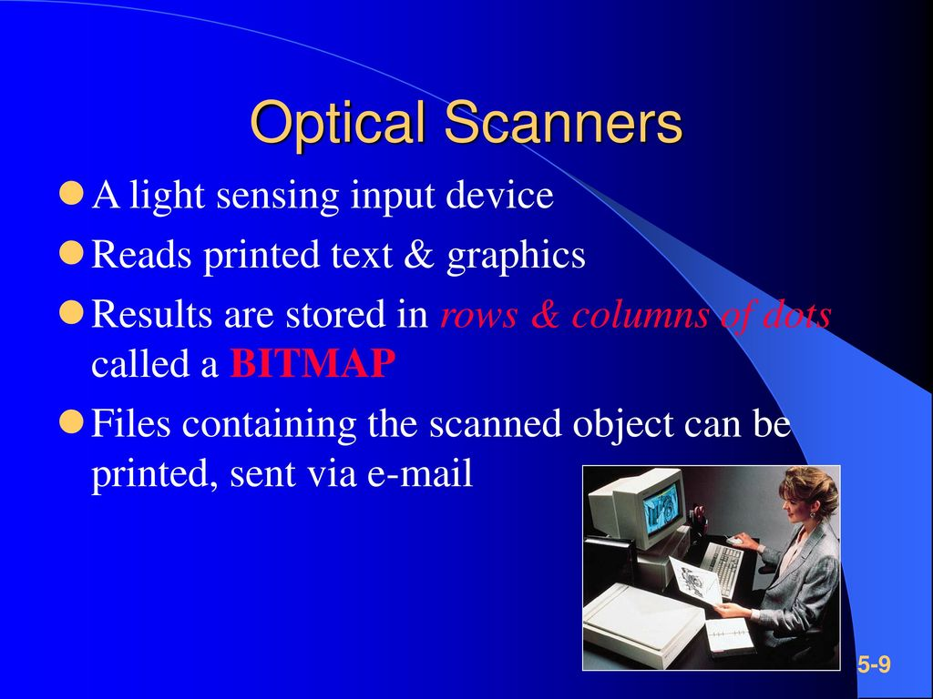 Optical Scanners A light sensing input device