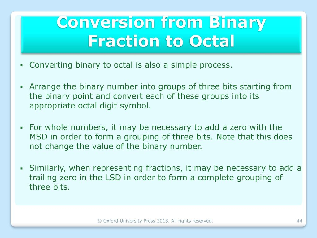 Number systems binary arithmetic ppt download conversion from binary fraction to octal buycottarizona Image collections