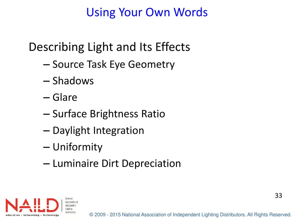 Applied lighting industrial coachs workbook ppt download describing light and its effects fandeluxe Choice Image