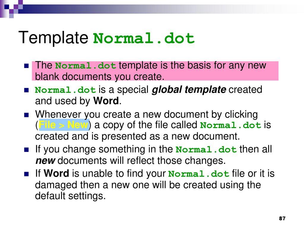 normal dot template