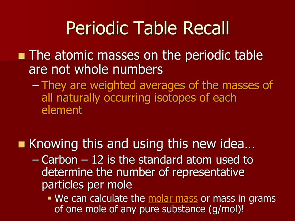 The mole chemical formulas ppt download 7 periodic table recall the atomic urtaz Images