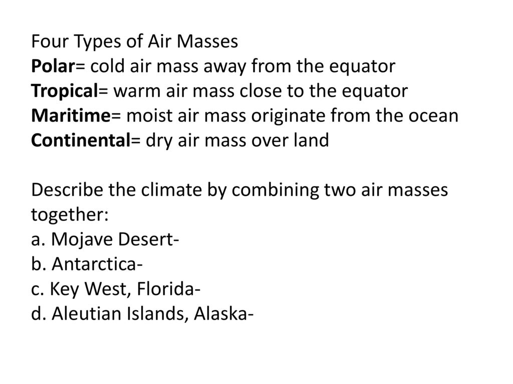 worksheet Air Masses Worksheet weather ppt download 26 tropical and continental four types of air masses