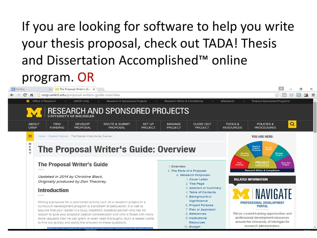 tada thesis and dissertation accomplished online program