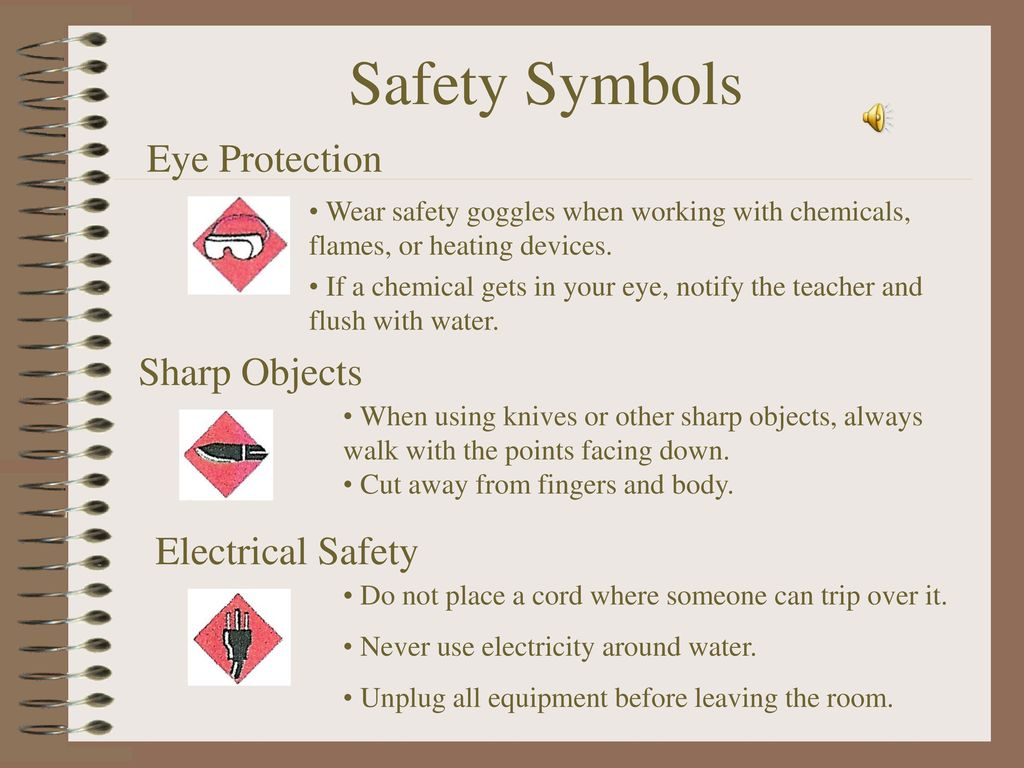 Safety in the science lab ppt download 7 safety symbols eye protection sharp objects electrical safety buycottarizona Choice Image