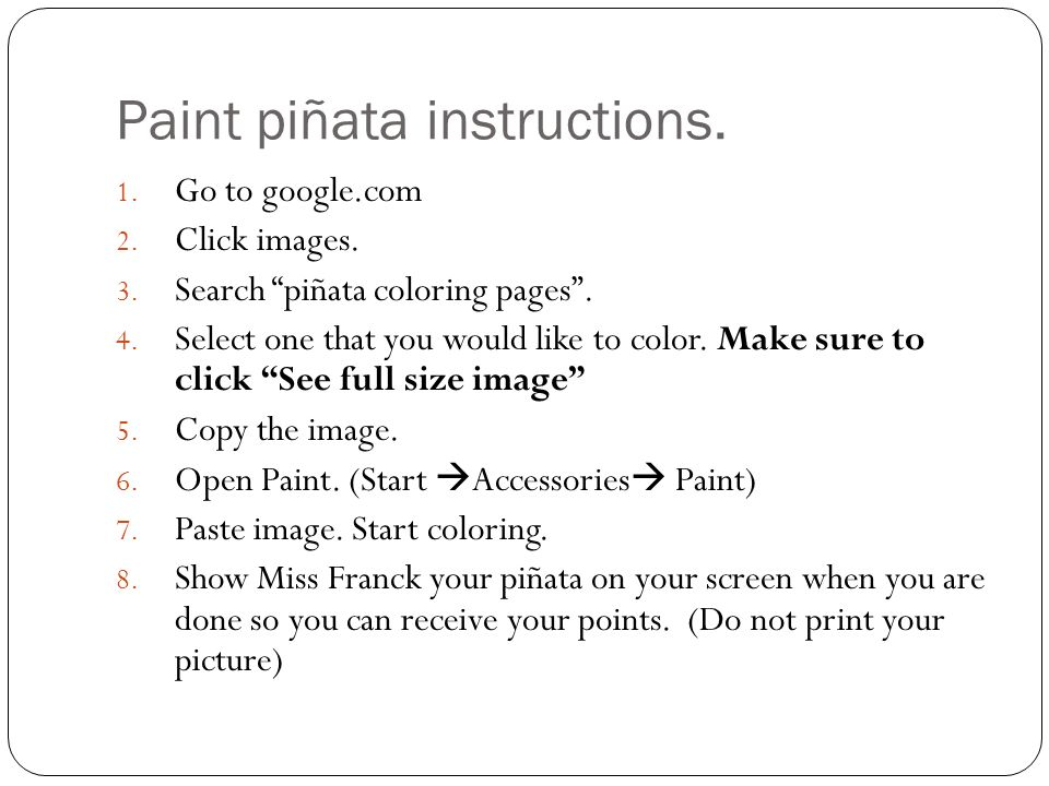 Paint piñata instructions.