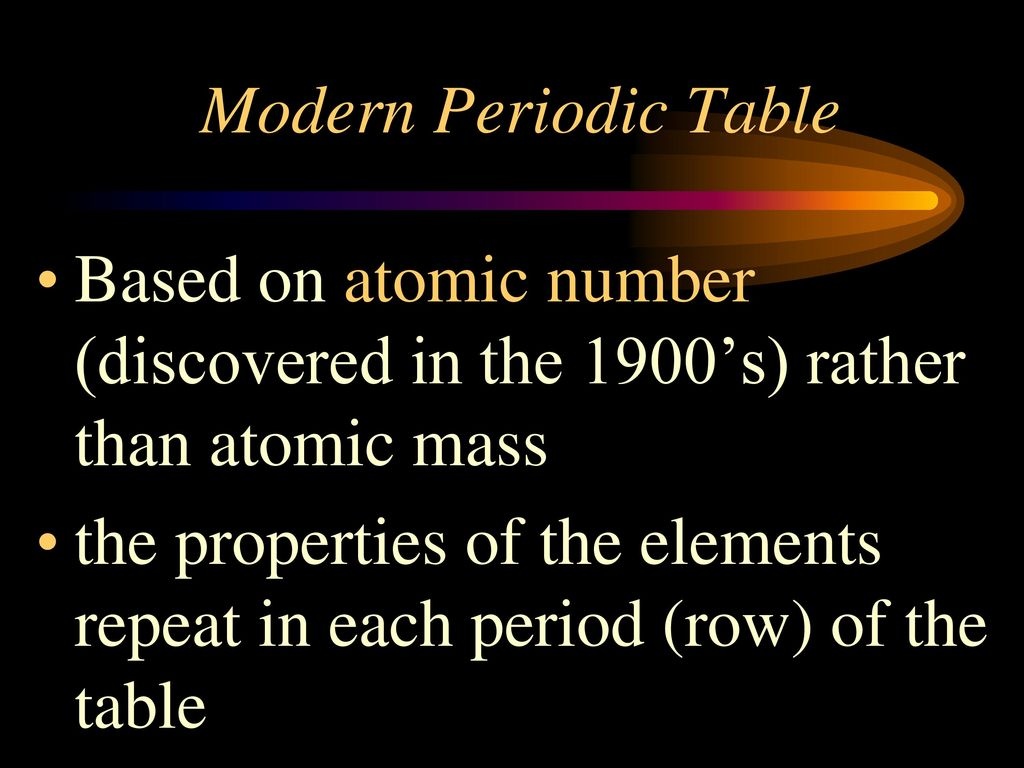 Periodic table based on atomic number choice image periodic table chapter 3 atoms the periodic table ppt download modern periodic table based on atomic number discovered urtaz Images