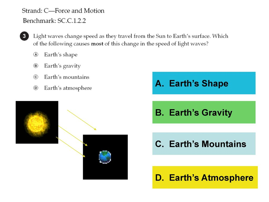 A. Earth's Shape B. Earth's Gravity C. Earth's Mountains D. Earth's Atmosphere