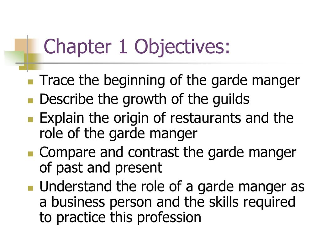 the role and required skills of a garde manger Garde manger chefs are chefs responsible for preparing and/or presenting cold food items, like salads, cold meats, garnishes, cheeses, etc, in the most attractive and palatable manner the job description of a garde manger is given in the article below.