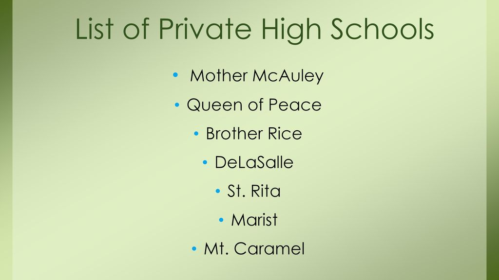 List of Private High Schools