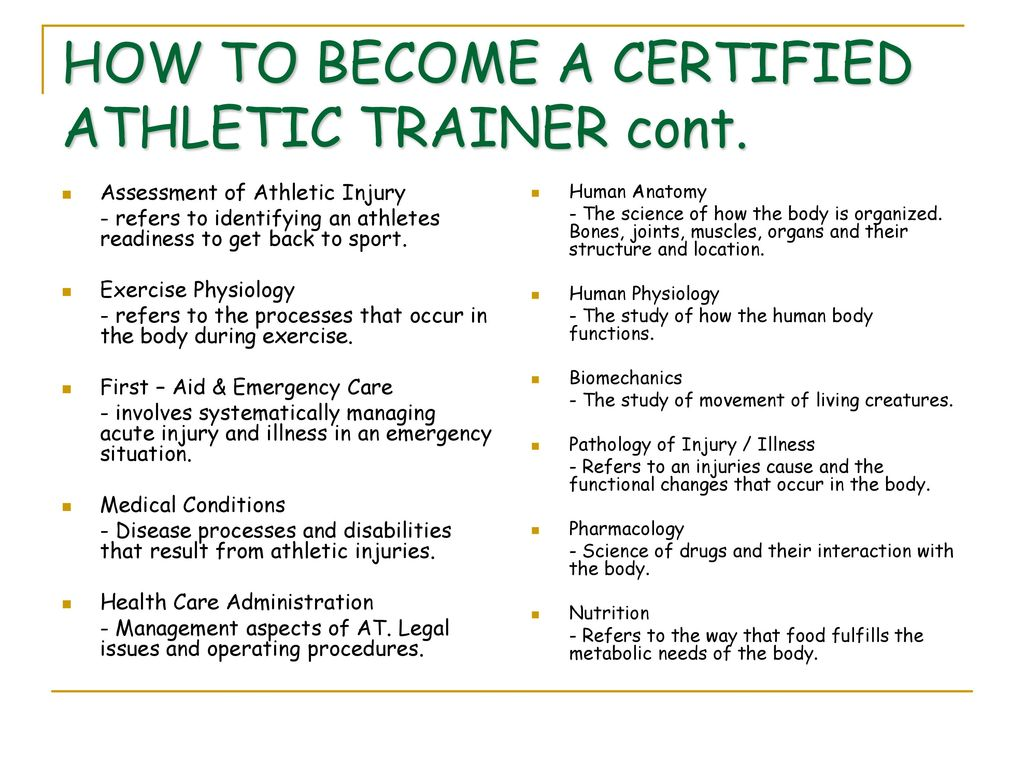 Athletic training as a profession ppt download how to become a certified athletic trainer cont 1betcityfo Gallery