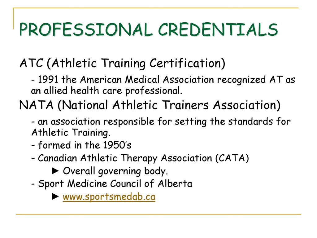 Athletic training as a profession ppt download athletic training as a profession 2 professional credentials 1betcityfo Gallery
