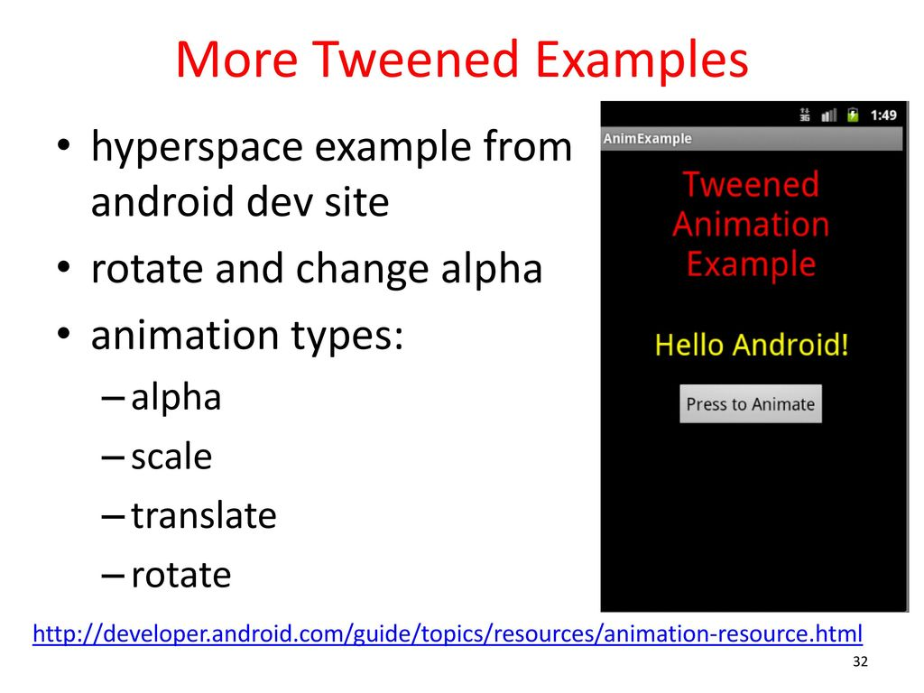 Android application 2d graphics cs ppt download more tweened examples hyperspace example from android dev site baditri Gallery